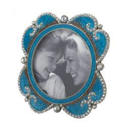 Turquoise Enamel with Glittering Rhinestones Round Photo Frame