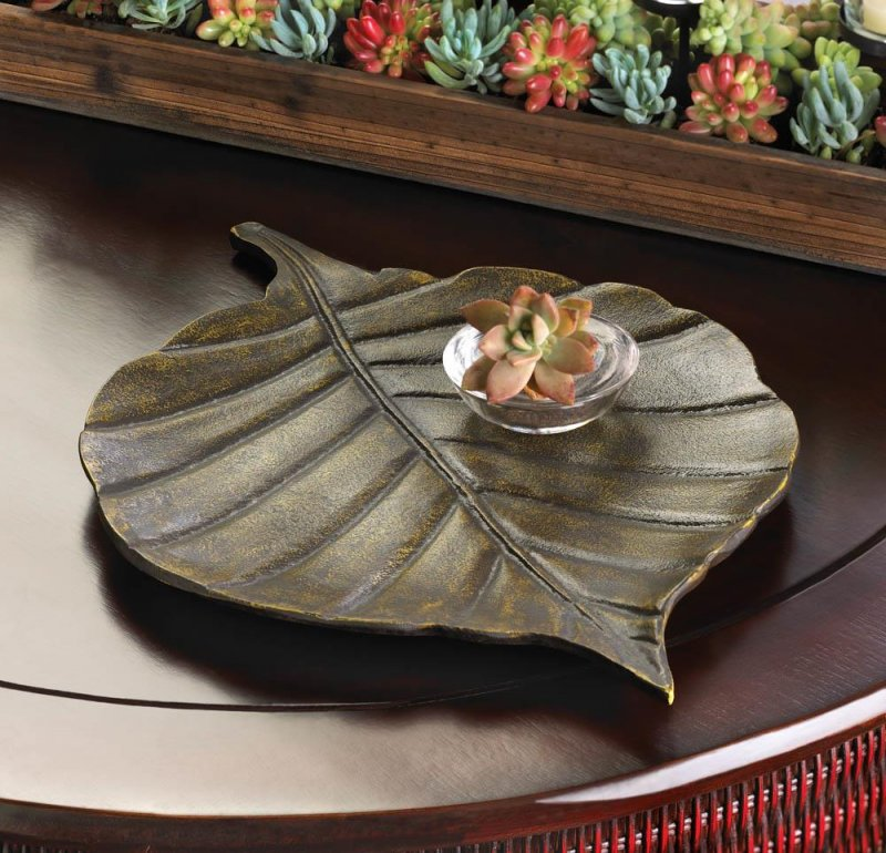 Image 0 of Antiqued Finish Avery Leaf Metal Decorative Dish, Tray or use by Door for Keys