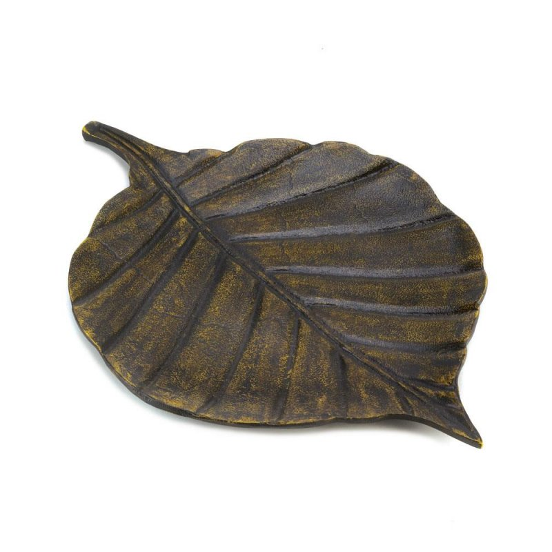 Image 1 of Antiqued Finish Avery Leaf Metal Decorative Dish, Tray or use by Door for Keys