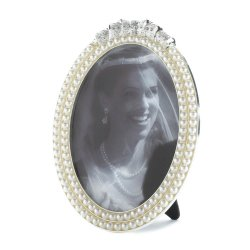 Strands of Faux Pearls Topped with Glittering Stones Oval Frame Holds 5x7 Photo