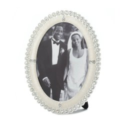 Row of Rhinestones Around and Oval Frame Holds 5x7 Photo