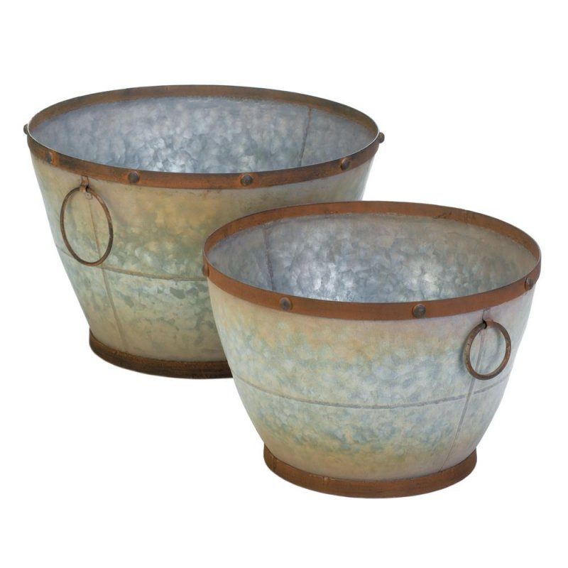 Image 0 of Set of 2 Rustic Country Chic Galvanized Tapered Planters Antiqued Finish