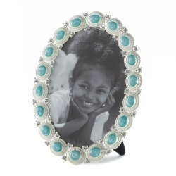 Sea Colored Cabochon set in a Pewter Oval Frame Holds 5x7 Photo