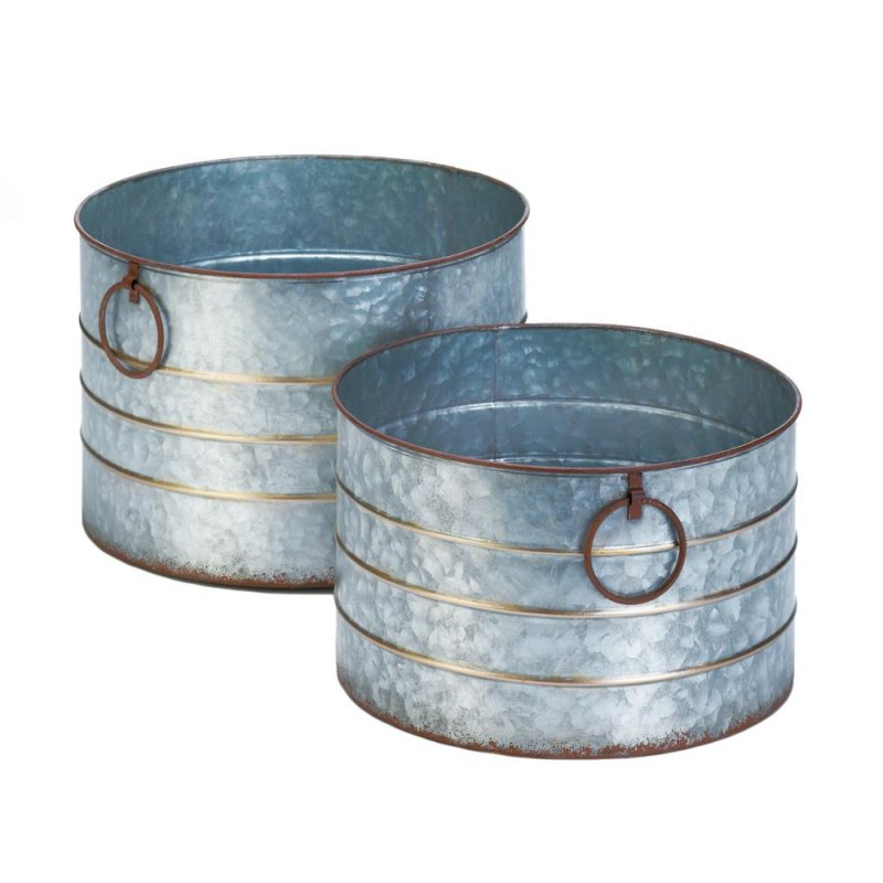 Image 0 of Set of 2 Farmhouse Style Galvanized Round Planters w/Handles & Detail Banding