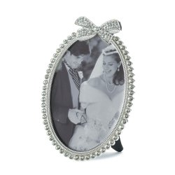 Beautiful Rhinestone Bow atop Pewter Oval Frame Holds 5x7 Photo