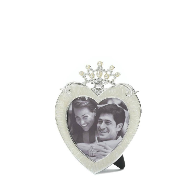Image 0 of Beautiful Pewter Heart Shaped Frame with Rhinestone Crown Holds 3x3 Photo
