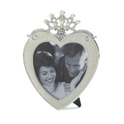 Beautiful Pewter Heart Shaped Frame with Rhinestone Crown Holds 5x5 Photo