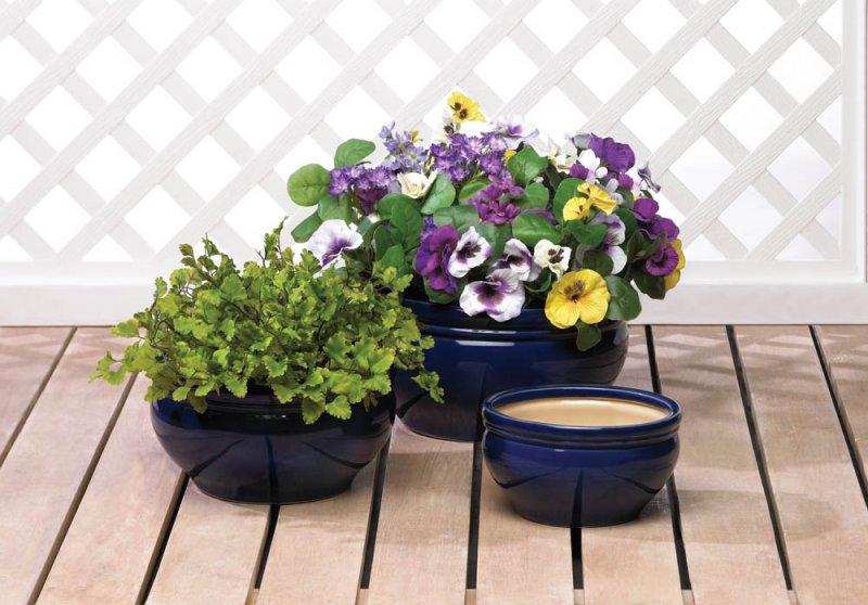 Image 1 of Set of 3 Deep Ocean Blue Planters, Flower Pots
