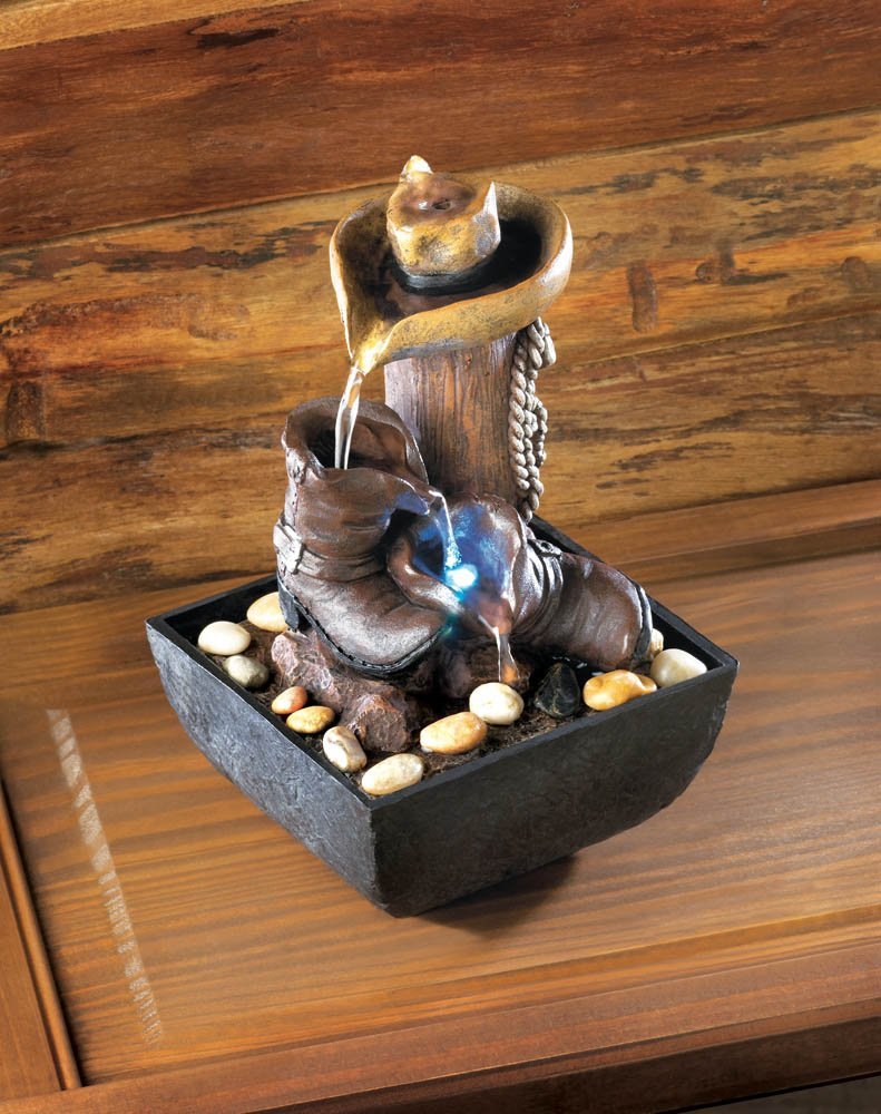 Image 0 of Western Cowboy Lighted Tabletop Water Fountain River Stones Included Electric