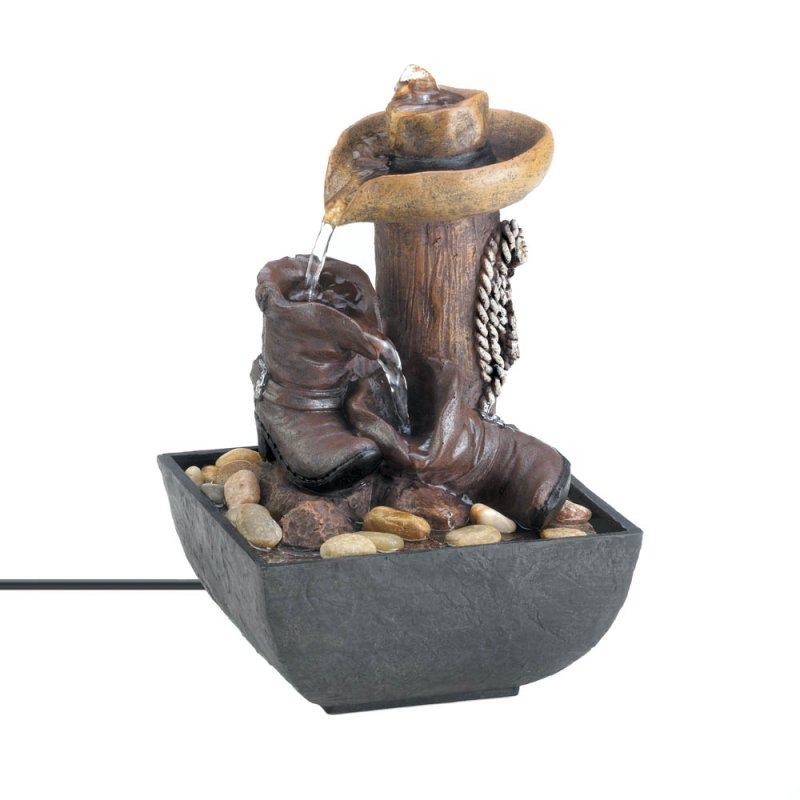 Image 1 of Western Cowboy Lighted Tabletop Water Fountain River Stones Included Electric