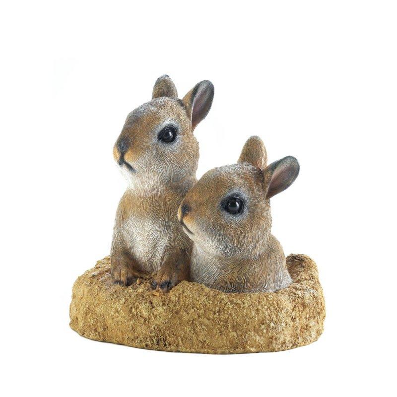 Image 0 of Peek-a-Boo Garden Bunnies in Faux Dirt Mound Figurine