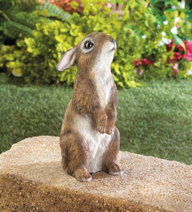 Image 0 of Adorable Standing Bunny Rabbit Garden Figurine