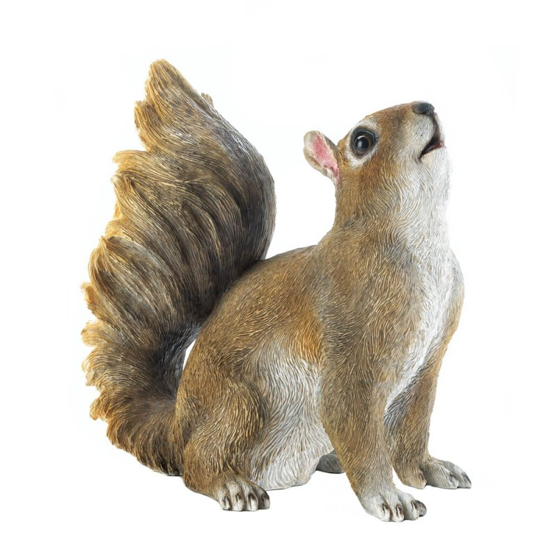 Image 1 of Cute Bushy Tail Sitting Squirrel Garden Figurine