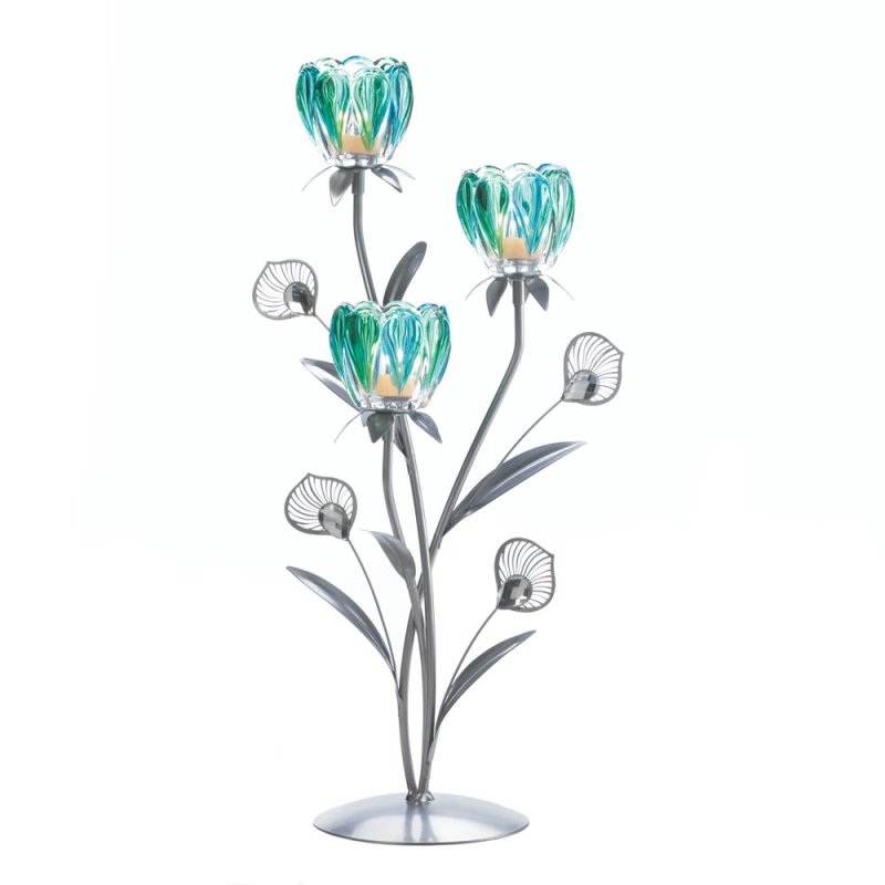 Image 1 of Peacock Flower Bloom 3 Candle Cups on Iron Stem Tealight Candle Holders
