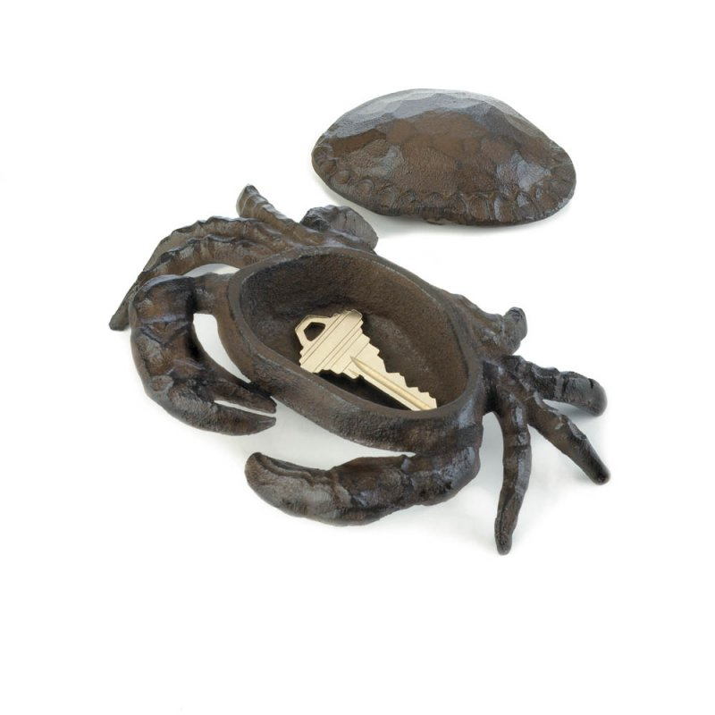 Image 1 of Cast Iron Crab Key Hider Figurine Garden Decor