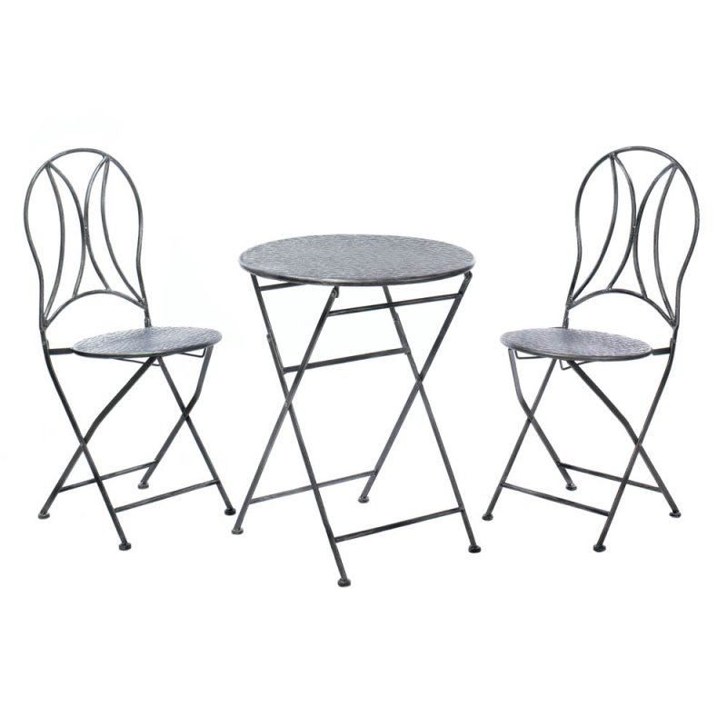 Image 1 of 3-pc Iron Hammered Texture Bristo Patio Set Table & Chairs Fold Up For Storage