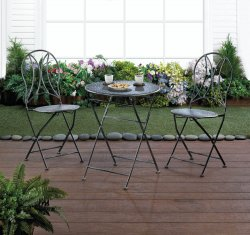 3-pc Iron Hammered Texture Bristo Patio Set Table & Chairs Fold Up For Storage