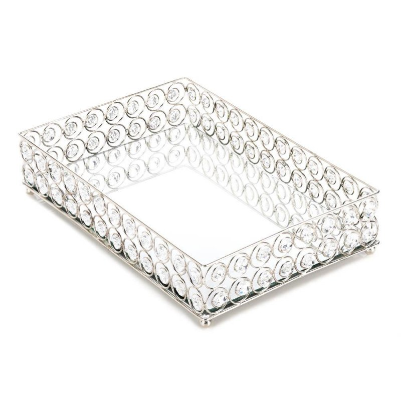 Image 0 of Shimmer Rectangular Jeweled Vanity Display Tray Silver with Clear Faceted Gems