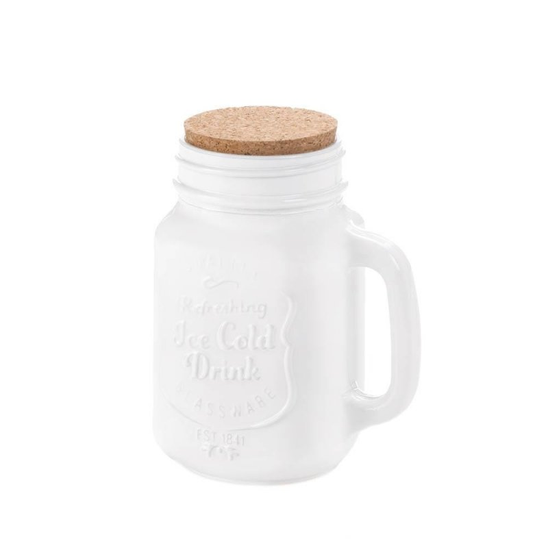 Image 0 of White Mason Jar with Cork Lid