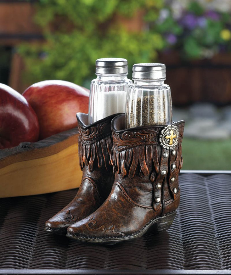 Image 0 of Salt & Pepper Shakers in Cowboy Boots Holder Western Decor
