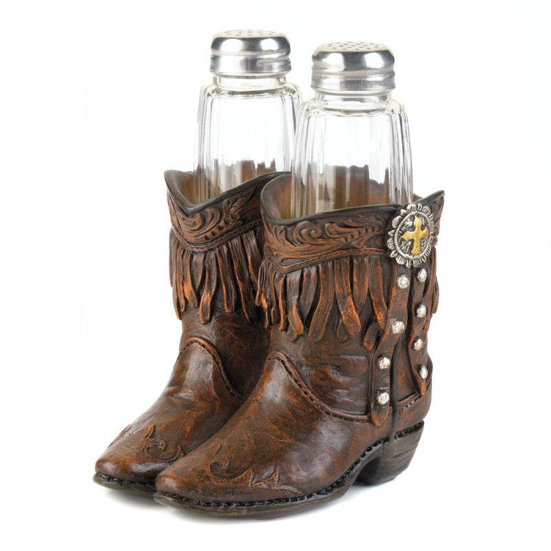 Image 1 of Salt & Pepper Shakers in Cowboy Boots Holder Western Decor