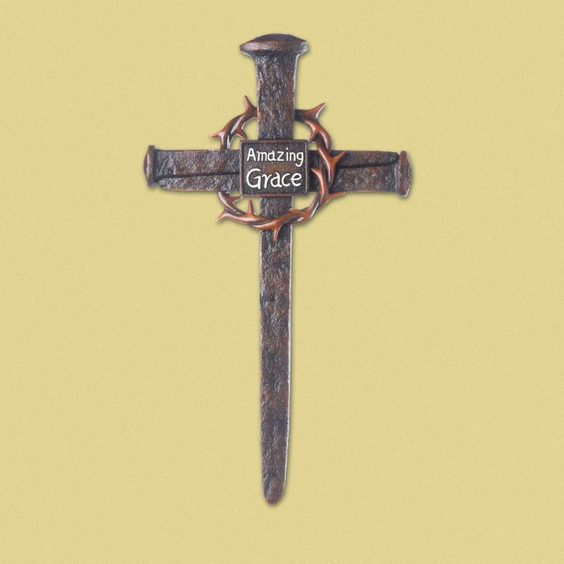 Image 0 of Crown of Thorns Nail Wall Cross with Amazing Grace in Center