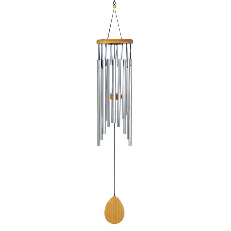 Image 0 of Classic Waterfall Wind Chime with Wooden Ornament at Bottom