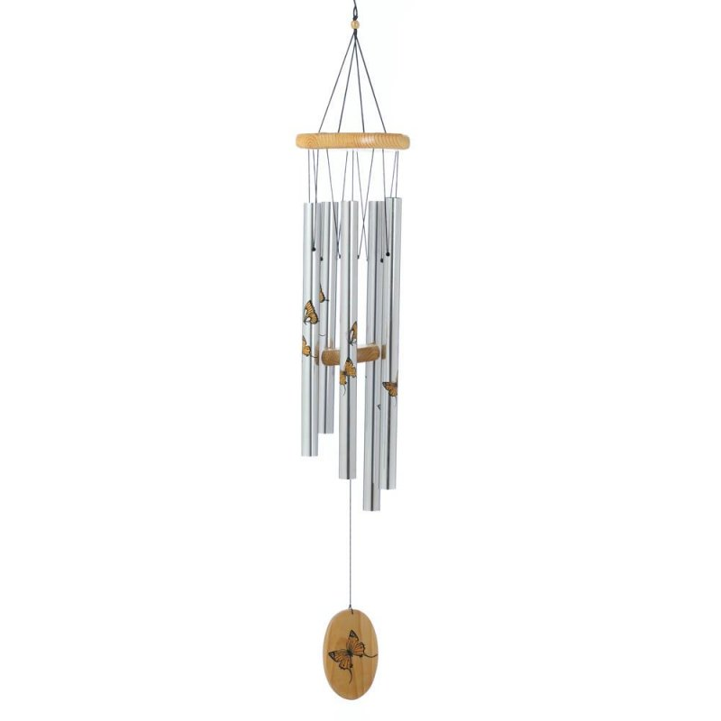 Image 0 of Printed Monarch Butterflies Wind Chime with Wooden Ornament at Bottom