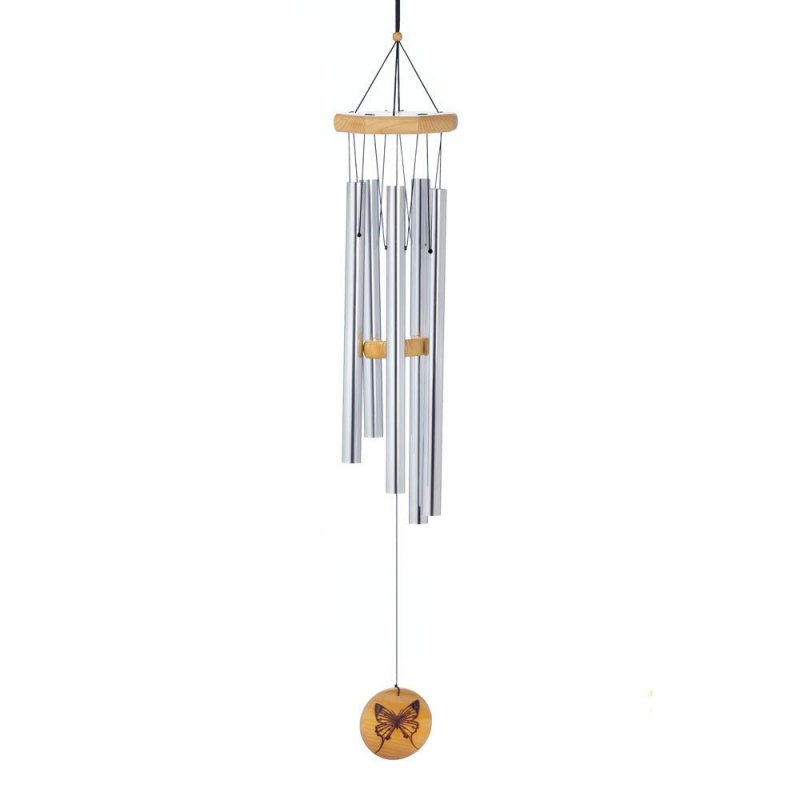 Image 0 of Classic Wind Chime with Monarch Butterfly Graphic on Wooden Ornament at Bottom
