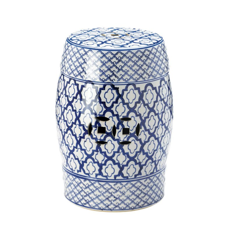 Image 0 of White w/ Blue Medallion Pattern Ceramic Stool, Side Table, Plant Stand
