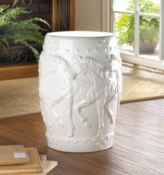 Band of Horses White Ceramic Stool, Side Table, Plant Stand