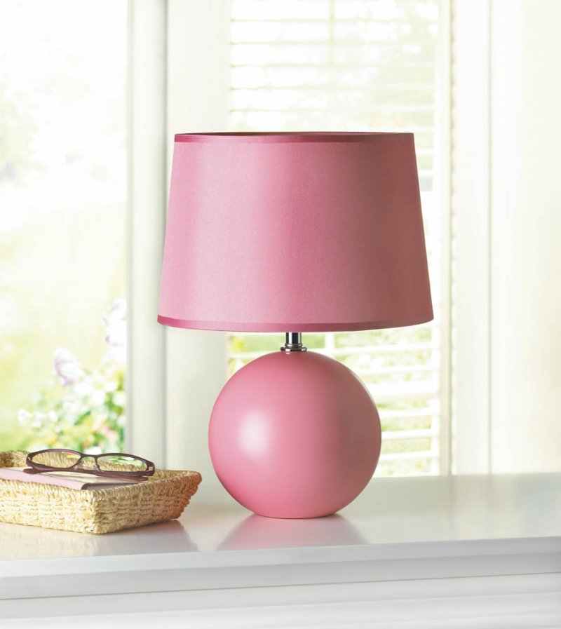 Image 0 of Pink Round Ceramic Base Table Lamp with Matching Fabric Shade