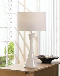 Sleek Modern Artist White Ceramic Base Table Lamp w/ Fabric Shade