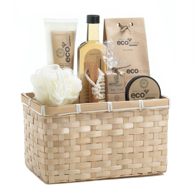 Image 3 of Deluxe Bath Gift Set in Bamboo Basket Lotion, Shower Gel, Fizzers, Puff