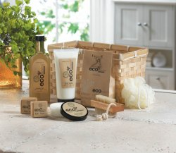 Deluxe Bath Gift Set in Bamboo Basket Lotion, Shower Gel, Fizzers, Puff