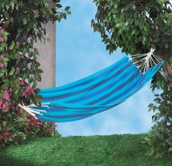 Fiesta Shades of Blue Striped Single Person Hammock
