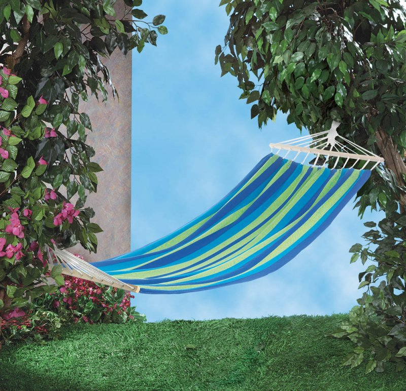 Image 0 of Bahama Blue & Green Striped Single Person Hammock