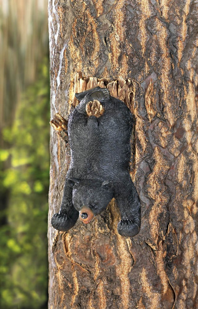 Image 0 of Upside Down Black Bear Tree Garden Decor or Use Indoor Wall Hook