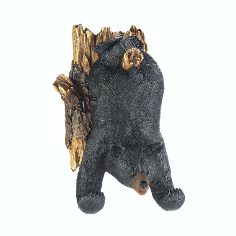 Image 1 of Upside Down Black Bear Tree Garden Decor or Use Indoor Wall Hook