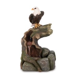 Majestic Eagle Perched on Weathered Branch Indoor or Outdoor Garden Fountain