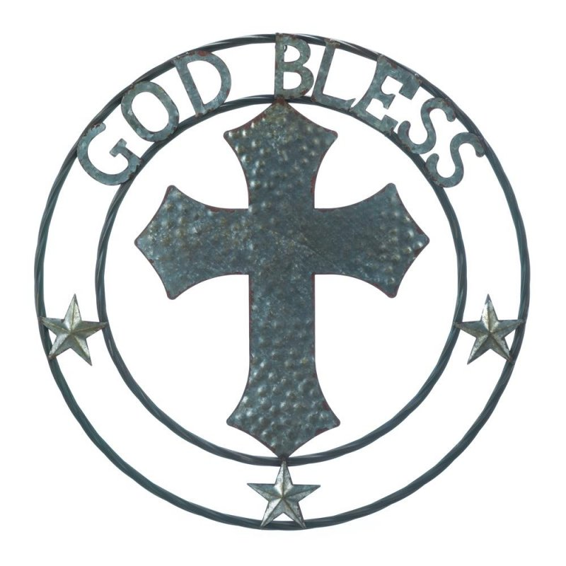 Image 0 of Galvanized Metal Textured Cross w/ God Bless at Top Wall Decor