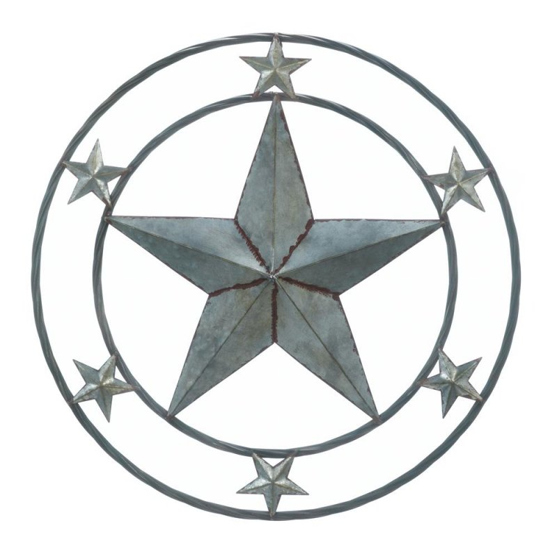 Image 0 of Galvanized Metal Large Lone Star in Center with 6 Smaller Stars Wall Decor