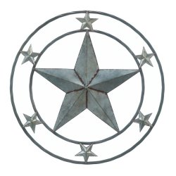 Galvanized Metal Large Lone Star in Center with 6 Smaller Stars Wall Decor