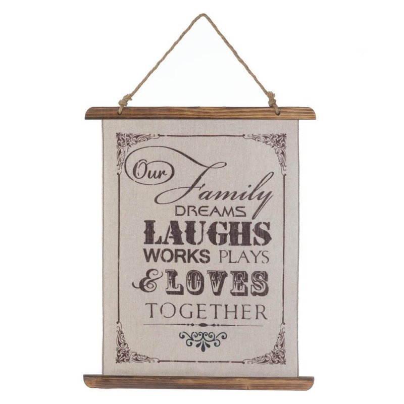Image 0 of Family That Dreams, Laughs, Works, Plays Loves Together Linen Scroll Wall Plague