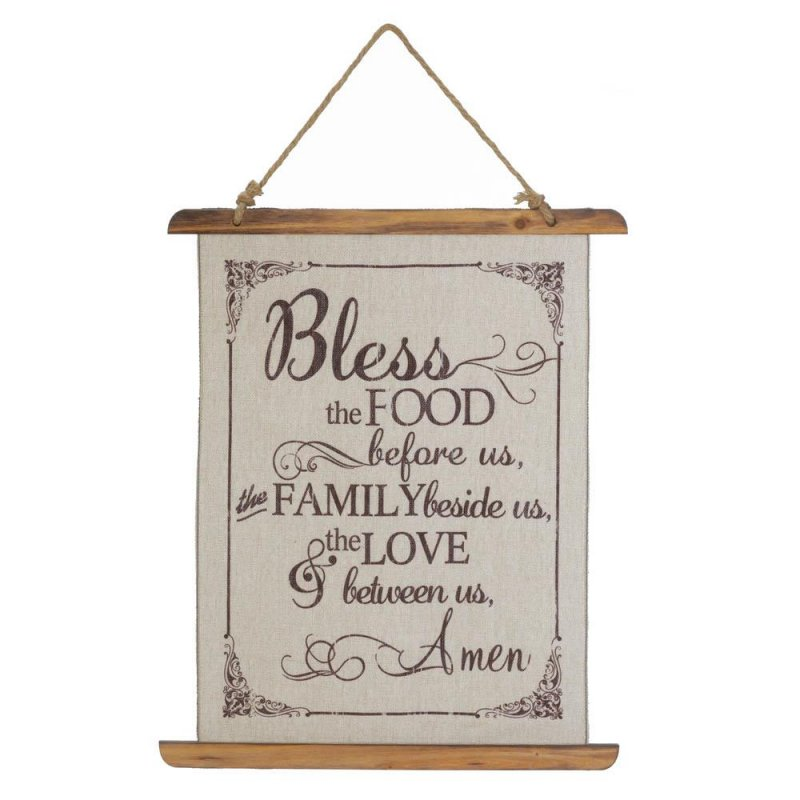 Image 0 of Bless this Food and Family Prayer Linen Scroll Wall Plague Kitchen Decor