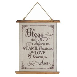 Bless this Food and Family Prayer Linen Scroll Wall Plague Kitchen Decor