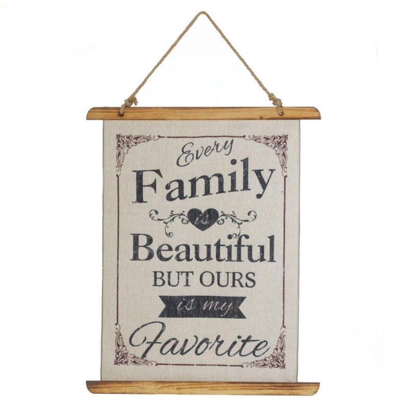 Image 0 of Every Family is Beautiful But Ours is my Favorite Linen Scroll Wall Plague