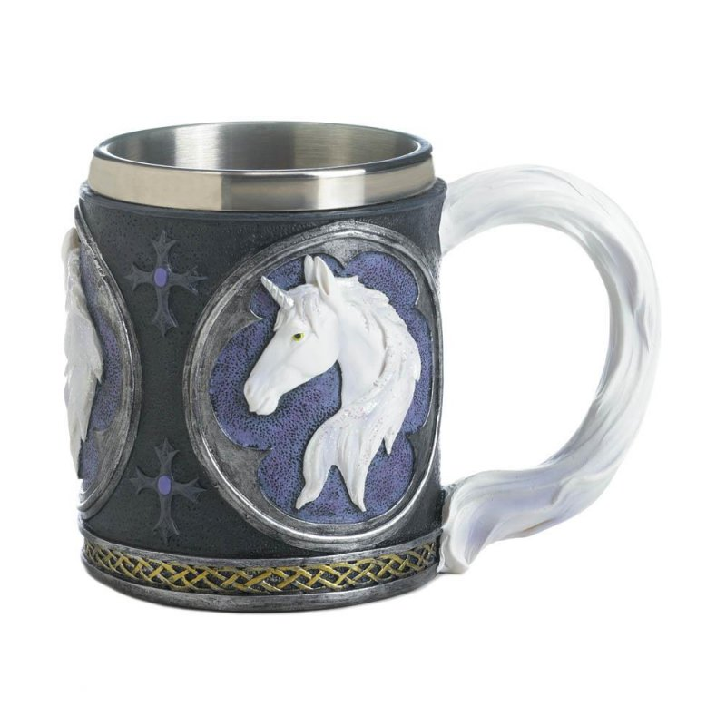 Image 0 of Magical White Unicorn Bust Mug Stainless Steel Interior