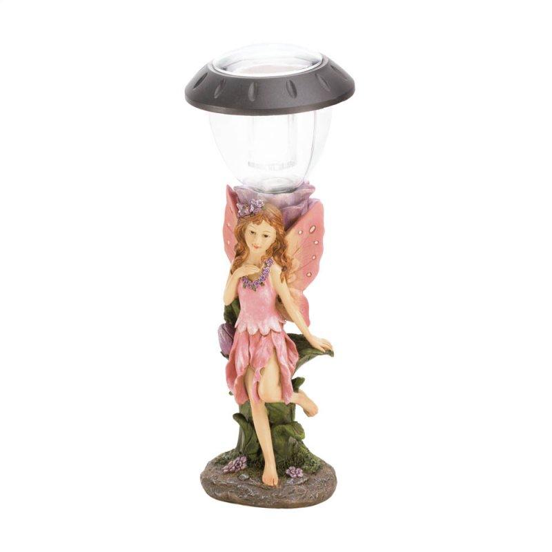 Image 2 of Fairy in Pink Dress & Wings Walkway LED Solar Lamp