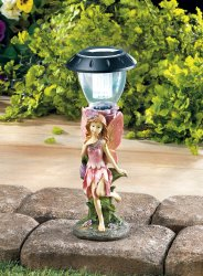 Fairy in Pink Dress & Wings Walkway LED Solar Lamp